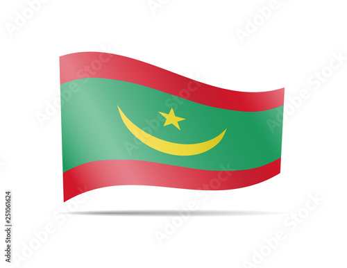 Waving Mauritania flag in the wind. Flag on white background vector illustration