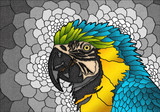 parrot, Stained glass, bird, illustration, animal, colorful