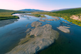 Langot-Yogan river on august morning. Yamal, Russia