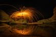 Reflection of Light painting at Sam Pan Bok the Grand Canyon in Thailand, Ubonratchathani.