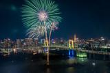 東京お台場 都市の夜景と花火 1