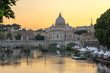 Sunset Panorama of Tiber River, St. Angelo Bridge and St. Peter's Basilica in Rome, Italy