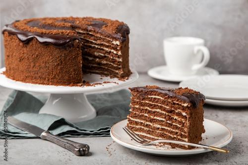 slice of homemade chocolate honey cake