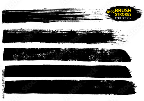 Dirty artistic design elements isolated on white background. Black ink vector brush strokes.