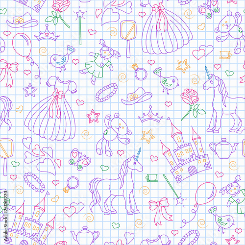 obraz PCV Seamless pattern on the theme of Hobbies baby girls, simple contour icons, contours are drawn with colored markers contour icons on the clean writing-book sheet in a cage