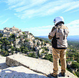 motorcyclist in Gordes, provence, France