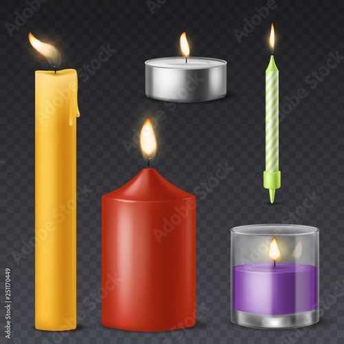 Realistic candle. Candlelight romantic birthday holiday wax burning 3d candles warm fire dinner celebration symbol © Olga