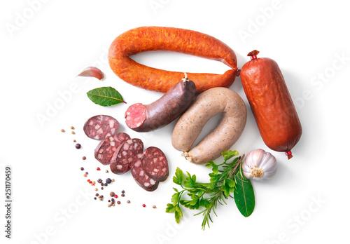 Leinwanddruck Bild Assortment of german homemade sausage specialties