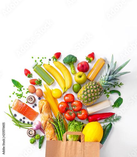 Leinwandbild Motiv Shopping bag with groceries full of fresh vegetables and fruits