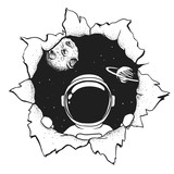astronaut in hole