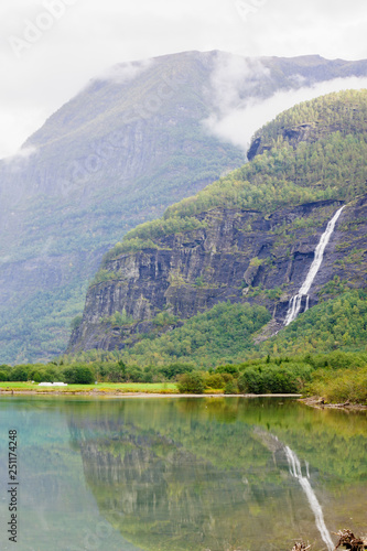 Norwegian Fjord and waterfall View © RnDmS