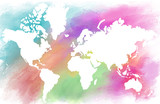 Colorful water color world map on canvas background. Digital painting.