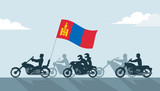 Bikers on motorcycles with mongolia flag