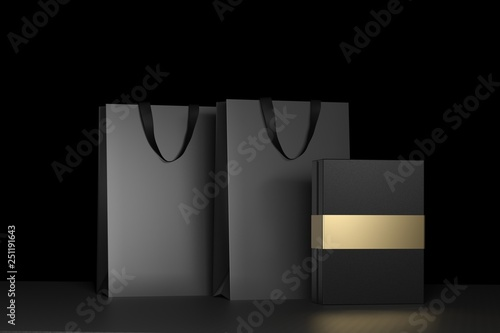 Black paper shopping bag with handles and luxury black box Mock Up. Premium black package for purchases mockup on a black background. 3d rendering.