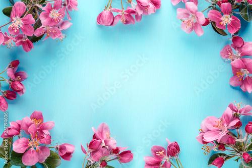 Spring flowers frame background