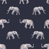 Watercolor elephant seamless vector pattern - 251198015