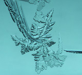 Frozen snow on the window glass as background