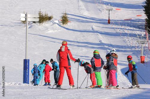 obraz lub plakat Cours de ski enfants-4391