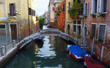 Chiodo Bridge on the Rio Di San Felice, Cannaregio district Venice. a quiet backwater.