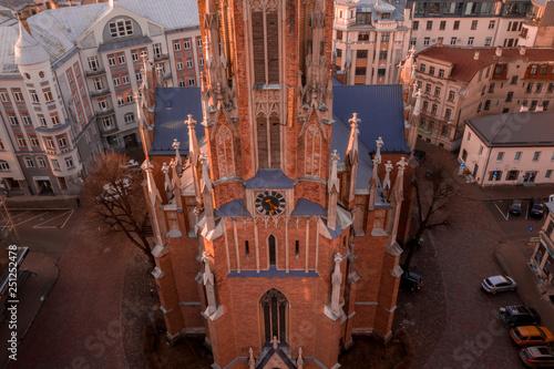 Aerial view of the Saint Gertrude Old Church, a Lutheran church in Riga, Latvia. Beautiful Riga town. - 251252478
