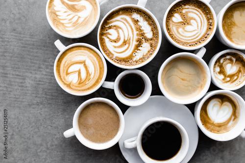 Leinwandbild Motiv Aerial view of various coffee