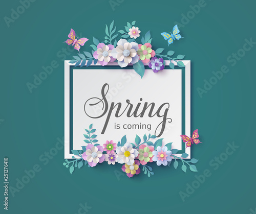 Spring season with frame of flower and leaves