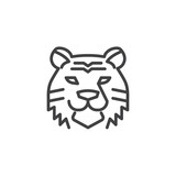 Tiger head line icon. linear style sign for mobile concept and web design. Wild cat outline vector icon. Symbol, logo illustration. Pixel perfect vector graphics