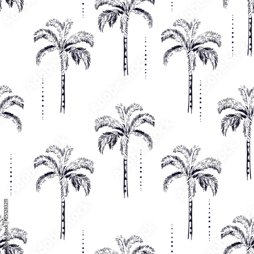 mata magnetyczna Palm and coconut trees silhouette on the white background. Vector seamless pattern with tropical plants