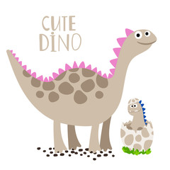 Cute newborn dino with his mother vector isolated icon on white background