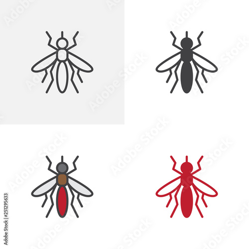 Mosquito bloodsucker icon. Line, glyph and filled outline colorful version. Gnat outline and filled vector sign. Symbol, logo illustration. Different style icons set - 251295633