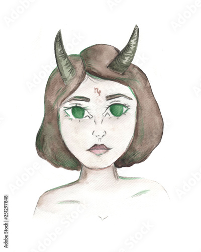 Zodiac beautiful girl. Capricorn sign. Watercolor and pencil on paper. Hand drawn sketch. © pictures_for_you