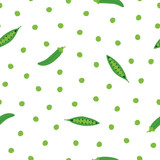 Vector seamless pattern background with green peas beans and pods isolated on white. - 251312045