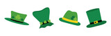 Set, collection of cute cartoon style leprechaun hats for St. Patrick's Day holiday design. - 251312056