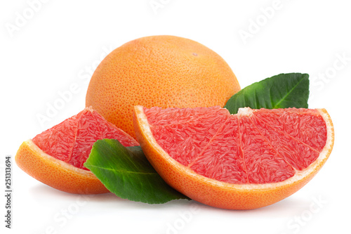 Red grapefruit with leaf - 251313694