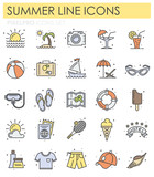 Summer color line icons set on white background for graphic and web design, Modern simple vector sign. Internet concept. Trendy symbol for website design web button or mobile app
