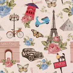 Seamless Pis travel wallpaper.Vintage background.