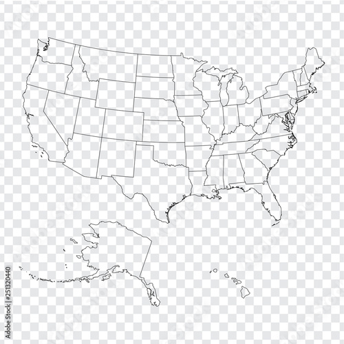 Blank map United States of America. High quality map of USA with ...