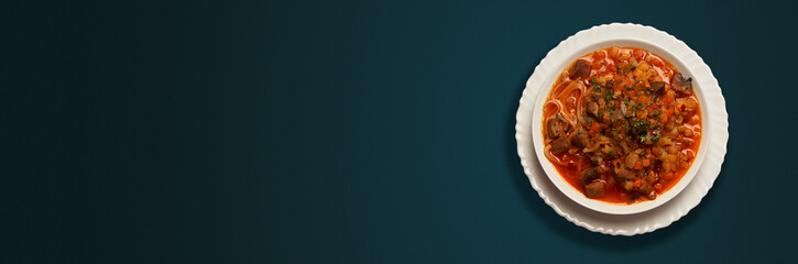 Banner composition with plate of soup © Mike