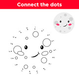 Dot to dot game, numbers game for children. Cute cartoon moon. Space theme. Vector illustration.