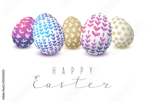 Easter eggs with floral ornate - 251325653