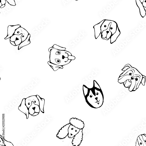 mata magnetyczna Seamless pattern with Dog breeds. Bulldog, Husky, Alaskan Malamute, Retriever, Doberman, Poodle, Pug, Shar Pei, Dalmatian