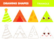 Learning geometric shapes for kids. Triangle. Handwriting practice figures and forms. Educational worksheet for children and toddlers.