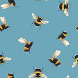 Watercolor bumblebee vector pattern - 251335000