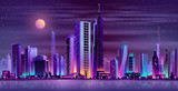 Metropolis night skyline with illuminated skyscrapers, cottage houses or public buildings on city quay shore and full moon in starry sky neon cartoon vector illustration. Urban architecture background