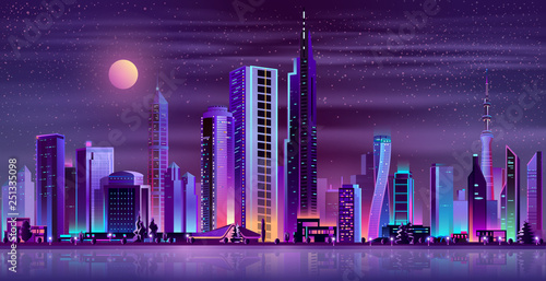 Metropolis night skyline with illuminated skyscrapers, cottage houses or public buildings on city quay shore and full moon in starry sky neon cartoon vector illustration. Urban architecture background © vectorpocket