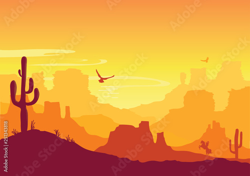 Western American desert. Vector Arizona prairie landscape
