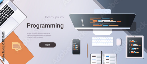 web site design development program code programming concept top angle view desktop computer monitor tablet smartphone screen organizer office stuff horizontal copy space - 251352423
