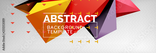 3d polygonal shape geometric background, triangular modern abstract composition - 251353089
