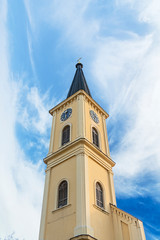 Bell tower with clock at Old town with cloudy sky © bennian_1