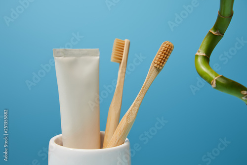 holder with bamboo toothbrushes, toothpaste in tube and bamboo stem on blue background